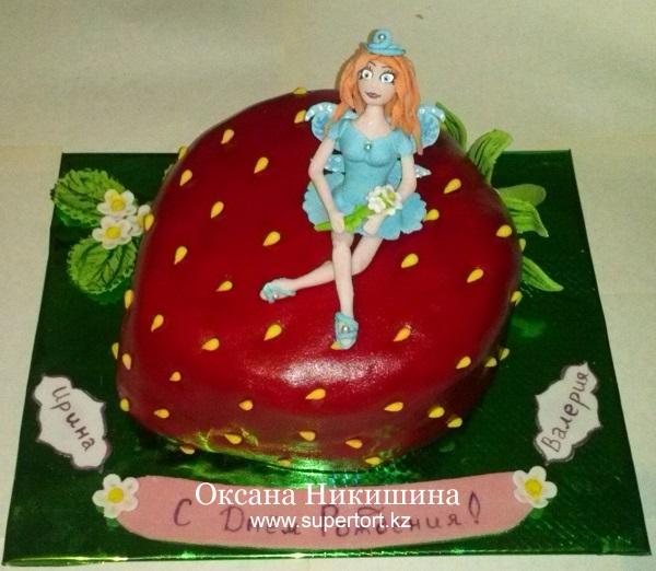 Торт Фея на клубничке