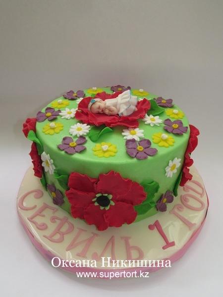 Торт Малышка в цветах