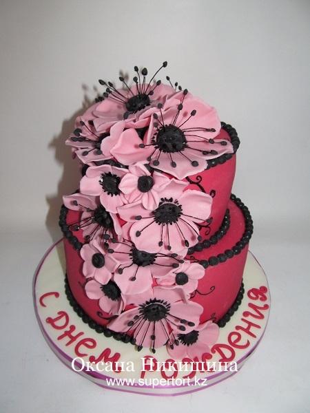 Торт Розовый с цветами