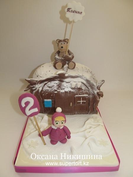 Торт Маша и Медведь поздравляют Полину