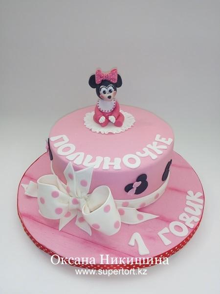 Торт Минни Маус поздравляет Полиночку