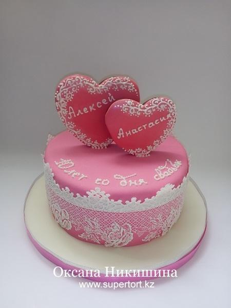 "Торт ""Розовая свадьба"""