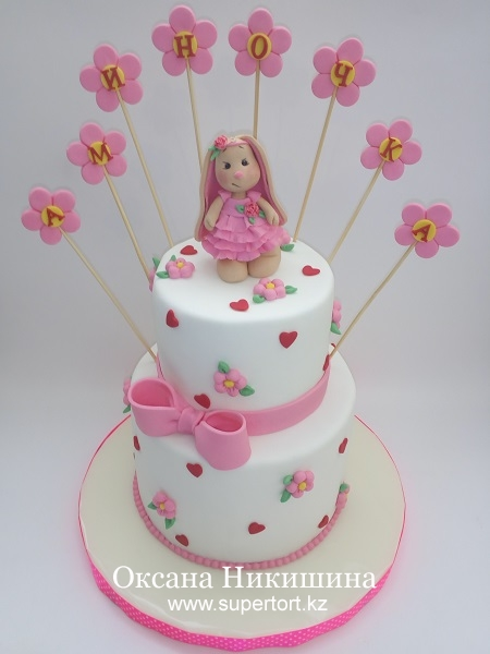 """Торт """"Зайка Ми поздравляет Аминочку"""""""