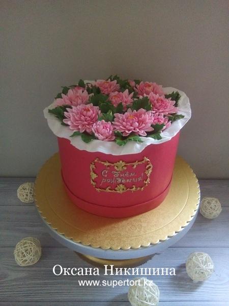 """Торт """"Хризантемы в шляпной коробке"""""""