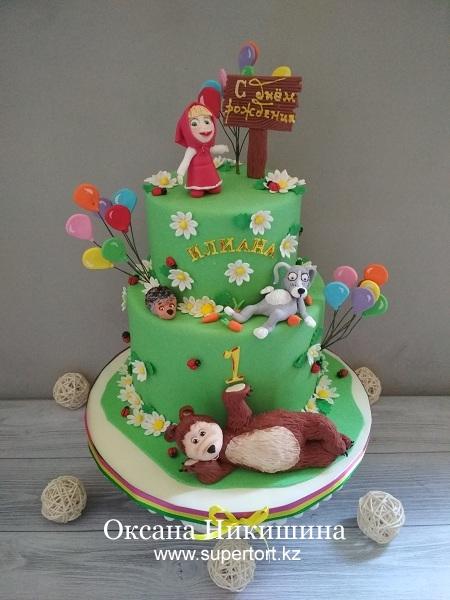 Торт «Маша и Медведь поздравляют Илиану»