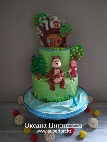 Торт «Маша и Медведь поздравляют Виктора»